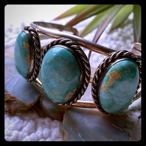 "Vintage Real Turquoise Native Bracelet Cuff 1""wide"